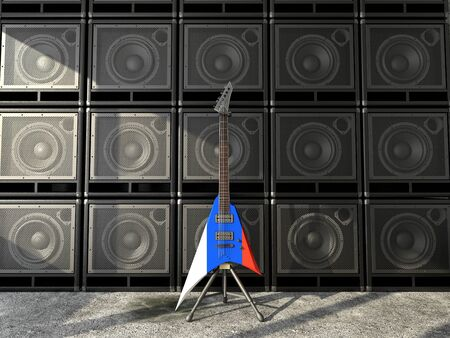 Russian flag electric guitar Stock Photo