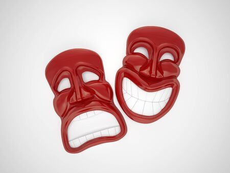 Red theatrical mask with a smile
