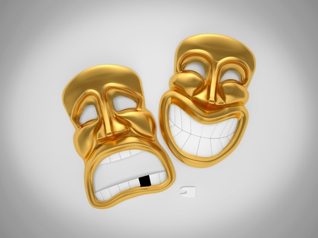 Happy and sad theater mask without teeth photo
