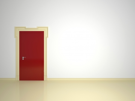 Stylish red closed door on a white background