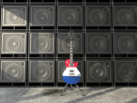 bandera francia: Bandera de Francia guitarra el�ctrica