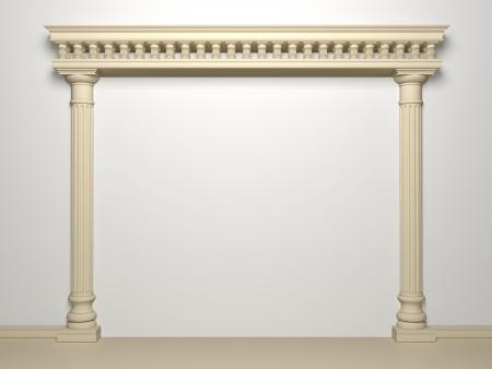 白い背景の上の列を持つ古典的なポータル 写真素材