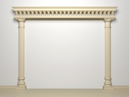 Classical portal with columns on a white background Stock Photo