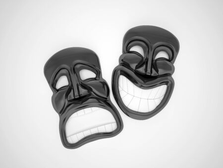 black theatrical mask with a smile photo