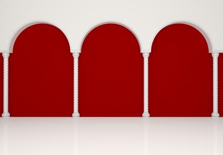 優雅な列とアーチのある豪華な赤いギャラリー