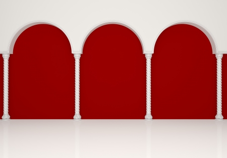 Luxurious red gallery with graceful columns and arches