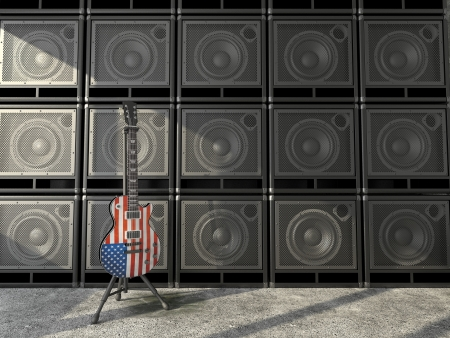 electric guitar with the USA flag on the background wall of amps