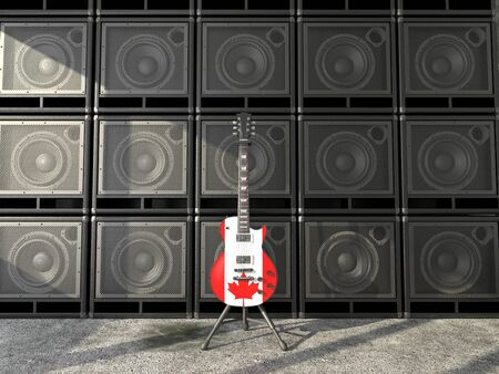 Canadian flag electric guitar photo