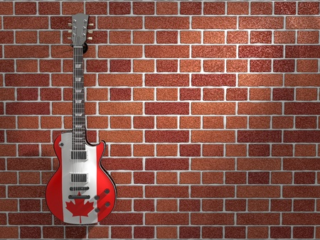 Canadian flag electric guitar hanging on a brick wall photo
