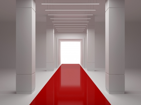 Empty room with a podium, columns and red carpet