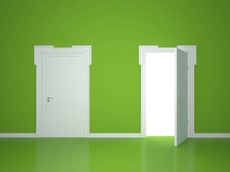 open gate: Open and closed the door on the green wall background Stock Photo