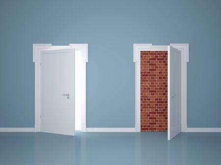 Two doors, one locked Stock Photo - 17467170