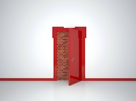White room with an open red door where you can not enter Stock Photo - 17467178