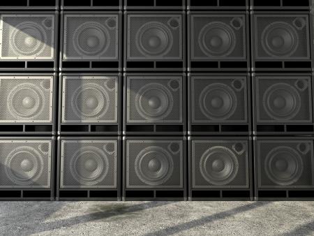 The walls consist of a horizontal arrangement of guitar amps