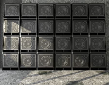 The walls consist of a horizontal arrangement of guitar amps photo