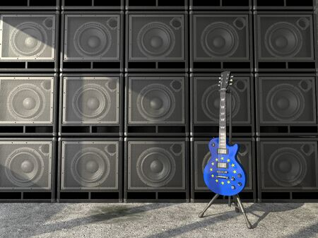 Electric guitar with the EU flag on the background wall of amps photo