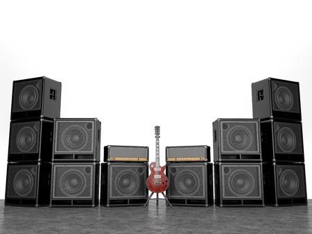 superdirecta: Amplificadores el�ctricos y muchos aislados sobre fondo blanco