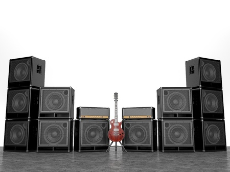 Electric and many amplifiers isolated on white background photo