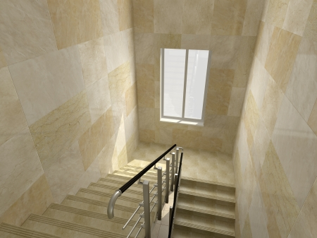 Modern staircase in office building
