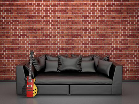 Quiet comfortable interior with a sofa and a German electric guitar photo