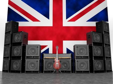 bandera inglaterra: Amplificadores de guitarra y guitarra contra la bandera de Inglaterra