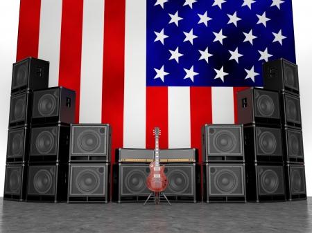 superdirecta: Amplificadores de guitarra y guitarra contra la bandera de EE.UU.