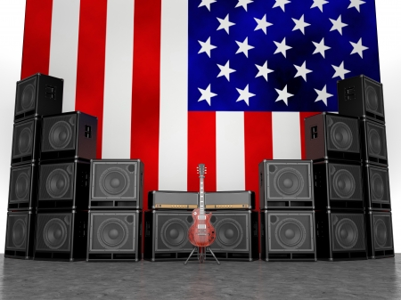Guitar amps and guitar against the USA flag Stockfoto