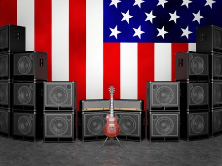 Guitar amps and guitar against the USA flag Stock Photo