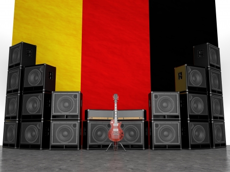 Guitar amps and guitar against the German flag