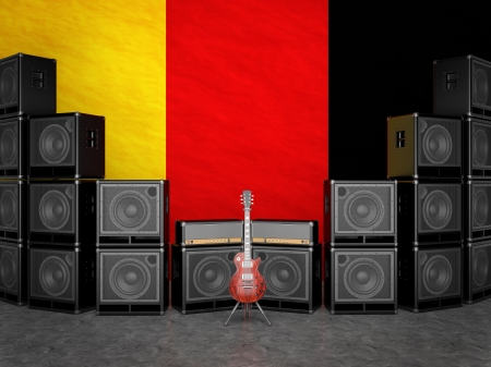 overdrive: Guitar amps and guitar against the German flag