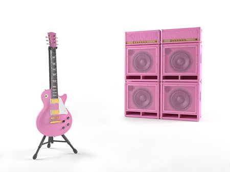 Pink guitar with amplifier photo