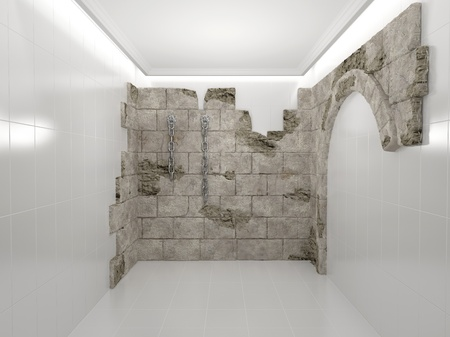mustiness: Abstract white room and a wall of the ancient stone