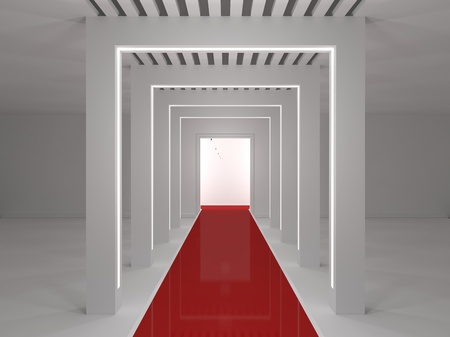 tunnel portals: Empty room with a podium, and red carpet
