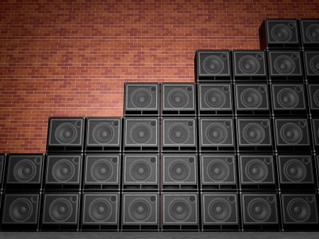 Stack of guitar amplifiers Stock Photo - 19583308