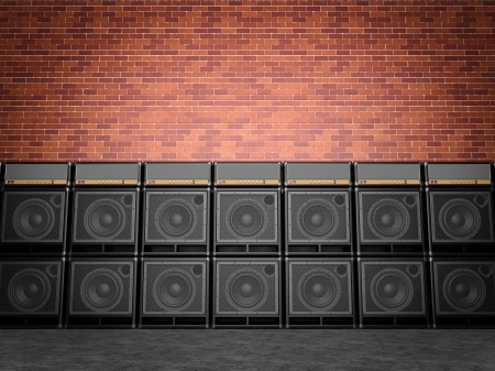 Stack of guitar amplifiers Stock Photo