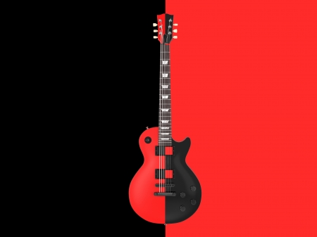 blues: One guitar on the red and black background