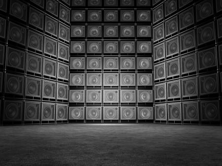 loud speaker: Wall of guitar amps