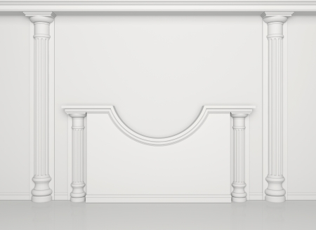 White wall with classical columns and moldings