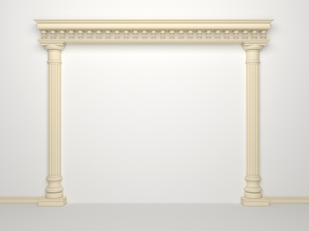 Classical portal with columns on a white background Imagens