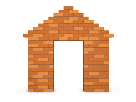 Abstract house made of bricks with the door open and isolated on a white background  Visualization of high quality photo