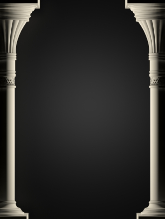 Background is two ancient columns  High-resolution