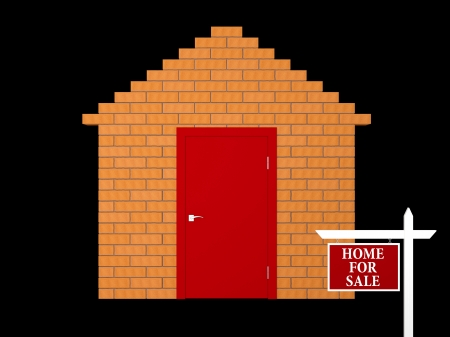 Abstract house made   of bricks for sale  Isolated on black