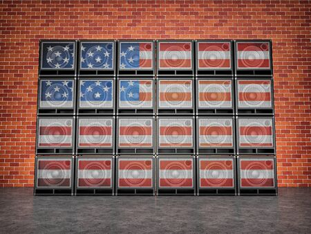 Stack amps painted in an American flag