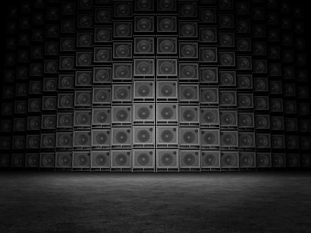 musica electronica: Pared de amplificadores de guitarra Foto de archivo