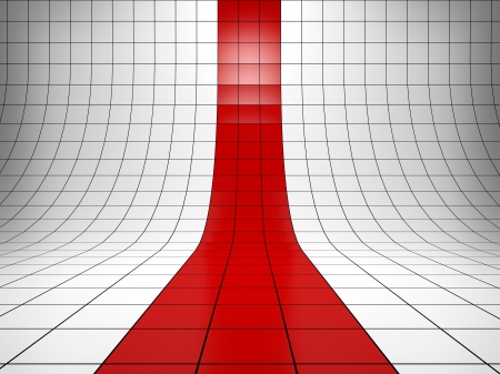 Abstract background with the perspective grid with a red stripe