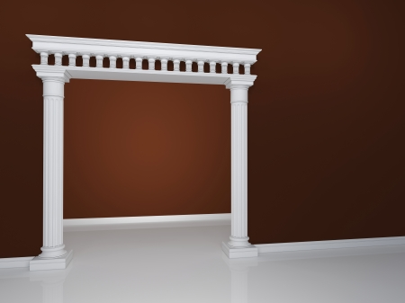 Beautiful arch with two columns on the background wall of brown color