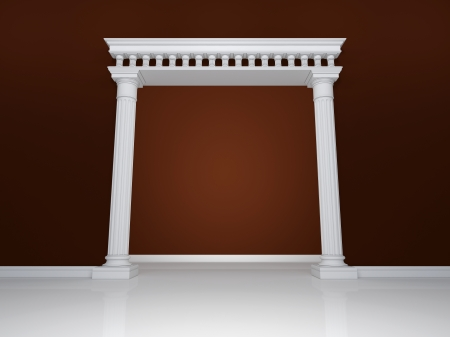 Beautiful arch with two columns on the background wall of brown color photo