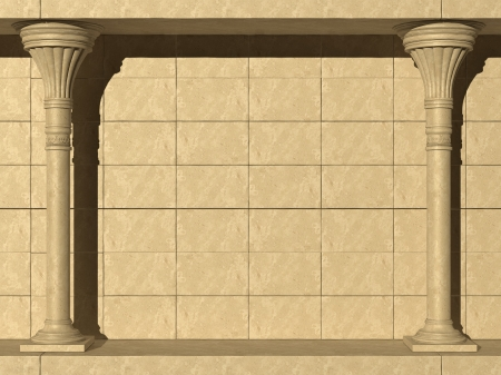 doric: Background is two ancient columns  High-resolution 3D render Stock Photo