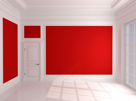 Empty interior with red walls and white door photo