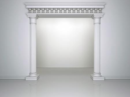 白い背景の壁に 2 つの列を持つ美しいアーチ